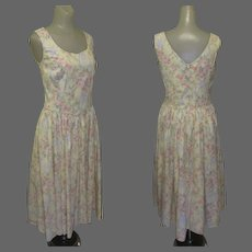Vintage Laura Ashley Dress, Cotton Floral, Sleeveless, Sweetheart Neck Line, 80's
