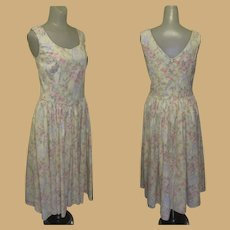 Vintage Laura Ashley Dress, Cotton Floral, Sleeveless, Sweetheart Neck Line, 80's