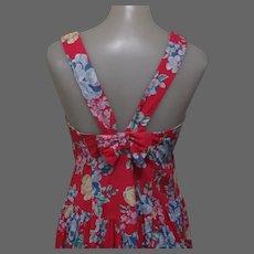 Vintage Laura Ashley Dress, Cotton Floral Sun Dress, Red 70's