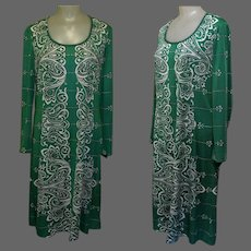 Vintage 70's Dress, Mod Print Shift, Emerald Green