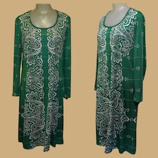 Vintage 70's Dress, Mod Print Shift, Emerald Green