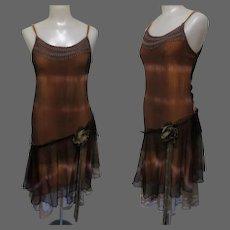 Vintage Party Dress, Flapper Revival, Drop Waist, Lace & Ribbons