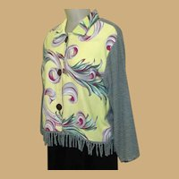 Vintage Chenille Jacket, 40's Drapery Fabric, Fringe