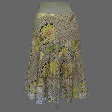 Vintage Cotton Skirt, Made in France, Floral Print