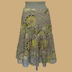 Vintage Cotton Skirt, Made in France, Floral Print