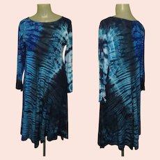 Vintage Hand Dyed Rayon Dress, Tie Dye, 90's Festival Boho