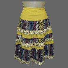 Vintage Skirt, Ruffled Calico Prints, Prairie, Festival Grunge, Dance Friendly