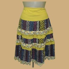 Vintage Skirt, Ruffled Calico Prints, Prairie, Festival Grunge, Dance Friendly