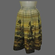 Vintage 50's Skirt, Full, Box Pleats, Cotton Jitterbug Skirt, by College-Town