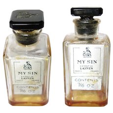 Vintage My Sin Perfume Bottle, Glass Stopper Lanvin Paris, France