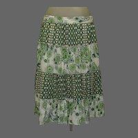 Vintage Prairie Skirt, Tiers & Ruffles of Calico Prints, Cotton 90's
