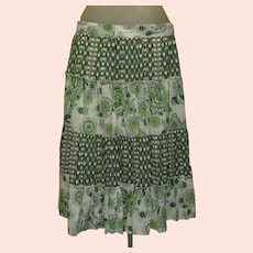 Vintage Prairie Skirt, Tiers & Ruffles of Calico Prints, Cotton 90's