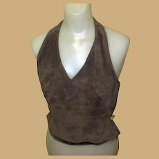 Leather Halter Top, Vintage Suede Leather, 90's