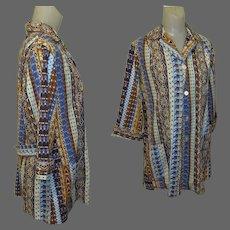 Vintage Scrub Coat / Lab Coat, Medical Smock, 60's  Print ANOC