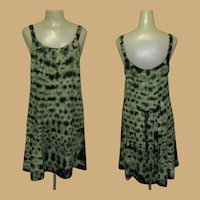 Vintage Tie Dye Dress, Rayon, Green. Boho Hippie, Festival Grunge Sun Dress