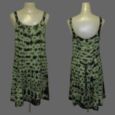 Vintage Tie Dye Dress, Rayon, Green. Boho Hippie, Festival Grunge Sun Dress