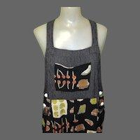 Vintage 90's Jumper Dress, Overalls by Carol Anderson, Vegetable Print