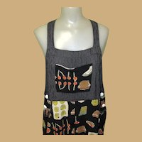 Vintage 90's Jumper Dress, Overalls by Carol Anderson, Vegetable Print
