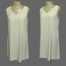 Vintage Shift Dress, A-Line, Mod Print, Light Rayon, Dots & Dashes, 90's Carol Anderson