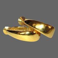 Crown Trifari Hoop Earrings, Vintage 60's, Gold Toned