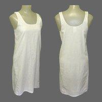 Vintage Cotton Shift Slip, 50's, Bust 34, White Nightgown.