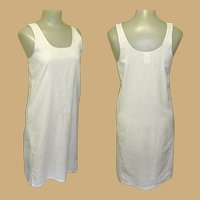 Vintage Cotton Shift Slip, 50's, Bust 34, White Nightgown.
