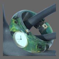 Bakelite watch, hinged bangle bracelet, blue moon, 17 jewels, runs, vintage 40's