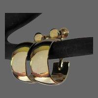 Vintage Hoop Earrings, Wide Gold Toned, Clip Screw Back Adjustable, 70's
