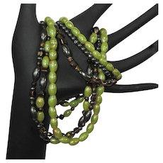 Vintage Necklace & Bracelet Set, 3 Strand Iridescent Demi Parure, 80's