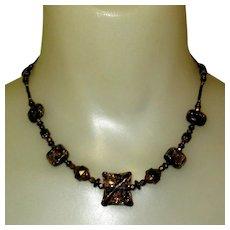 Art Glass Necklace, Black, Artist Cane Signature, Vintage