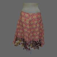 Vintage Cotton Skirt, Made in Italy, Cotton, Ruffles, Benetton, Prairie