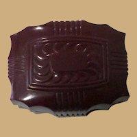 Vintage Celluloid Ring Box, Art Deco Presentation Box, Dark Red