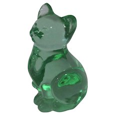 Vintage Fenton Glass Cat, Curious Cat, Clear Green, As Is