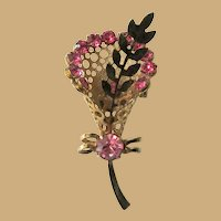 Rhinestone Bouquet Pin / Brooch, Vintage 60's, Pink and Gold