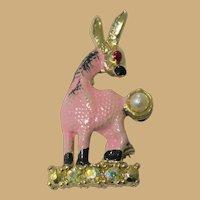 Vintage Donkey Pin, Rhinestones, 50's 60's Pink