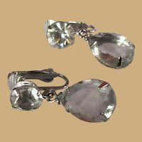 Vintage Rhinestone & Crystal Earrings, 50's 60's, Clear & Silver Toned