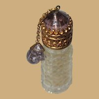 Czech Irice Perfume Bottle, Vintage Filigree, Jewel Top, Dangling Charms