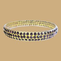 Celluloid Rhinestone Bracelet, 1920's Art Deco Sparkle, Purple