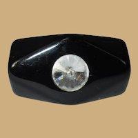 Vintage Lucite Rhinestone Ring, Rivoli, Black 60's 70's