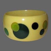 Bakelite Dot Bracelet, Random Inlaid Artist Bangle, Cream Vintage