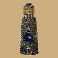 Caged Irice Bottle, Jewel Top, Mini Czech Perfume, Vintage Filigree