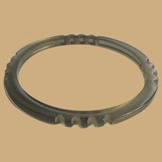 Vintage Lucite Bangle Bracelet, 60's Clear Gray, Carved Spacer