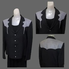 Vintage Western Jacket, Black & Gray, MOP Snaps, Arrow Stitching