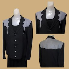Vintage Western Jacket, Black & Gray, MOP Snaps, Arrow Stitching