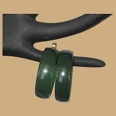 Vintage Hoop Earrings, Green Lucite, Large Clip Ons