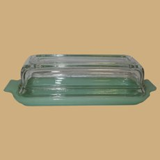 Vintage Jadeite Fire-King 1/4 Butter Dish, Clear Lid, Jadite Glass