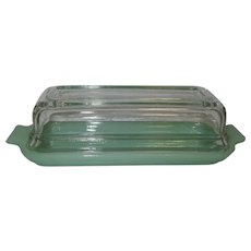 Vintage Jadeite Fire-King 1/4 Butter Dish, Clear Lid, Jadite Glass