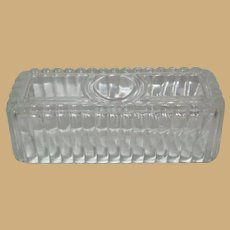 Crystal Ribbed Lid for Jadeite Butter Dish 1/4 lb.  No Bottom.