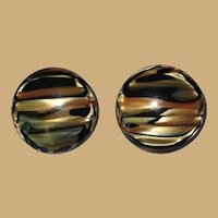 Vintage 60's Lucite Earrings, Marbled Moonglow Black, Cream, Gold, Clip ons.