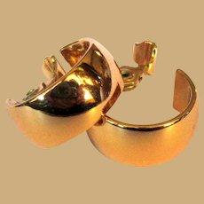 Vintage Hoop Earrings, Monet Clip ons, Gold Toned, Wide